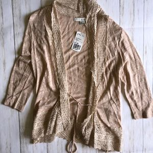 XXI NWT Open Cardigan Tie Front Crochet Boho Small